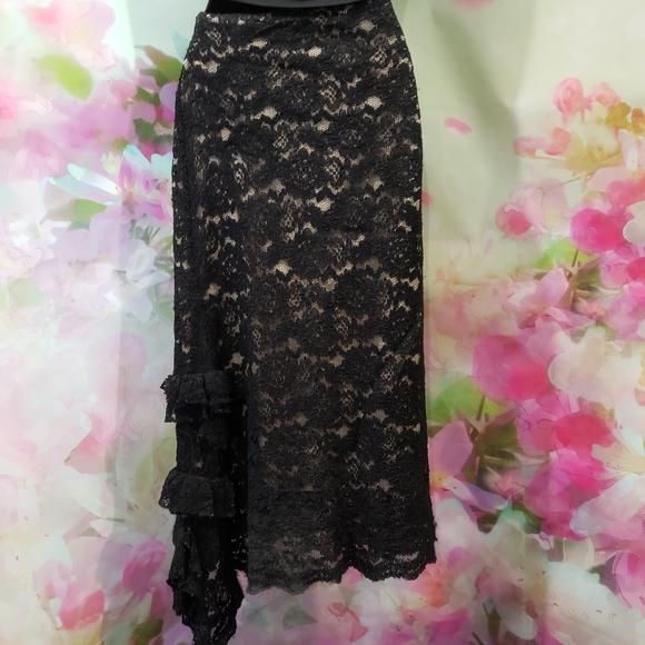Le Chateau Black Lace Skirt Size M